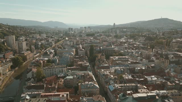 sarajevo, bosnia and herzegovina aerial video cityscape captured with drone during a dreamy moody look - bosnia and hercegovina stock videos & royalty-free footage