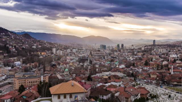 sarajevo, bosnia and herzegovina, time lapse - sarajevo stock-videos und b-roll-filmmaterial