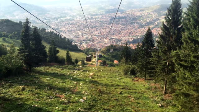 sarajevo cable car gondola transportation timelapse - overhead cable car stock videos and b-roll footage