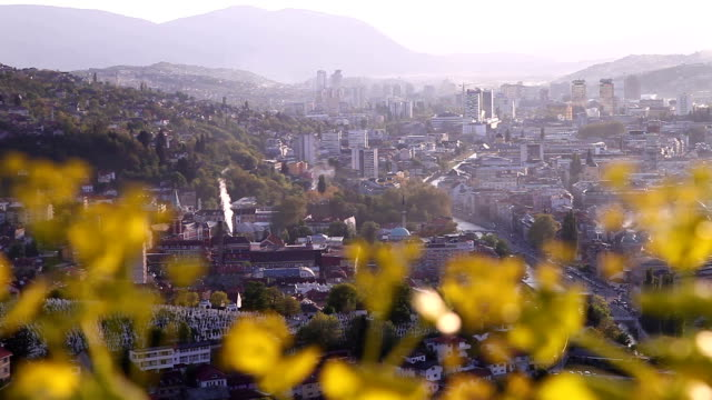 sarajevo general view from yellow bastion - sarajevo stock-videos und b-roll-filmmaterial