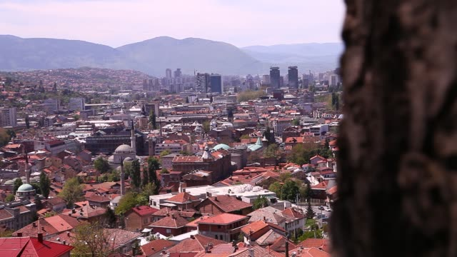 sarajevo general view from yellow bastion - mosque stock videos & royalty-free footage