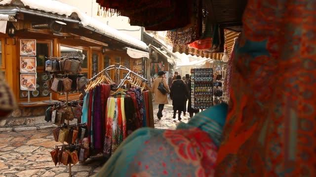 sarajevo old bazaar - bosnia and hercegovina stock videos & royalty-free footage