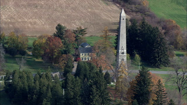 saratoga monument - aerial view - new york,  saratoga county,  united states - battle stock videos & royalty-free footage