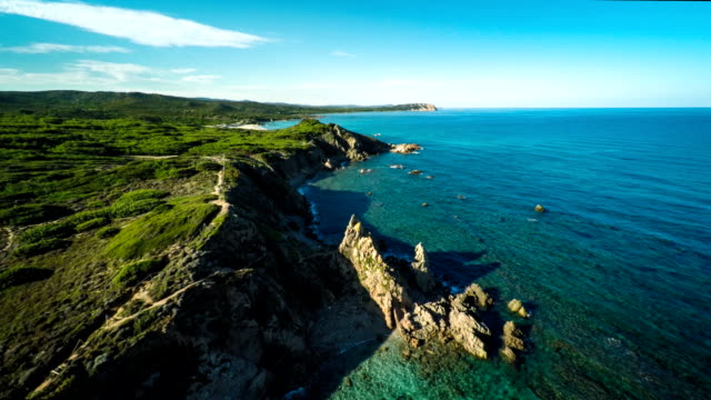 aerial: sardinia coastline - italy - sardinia stock videos & royalty-free footage