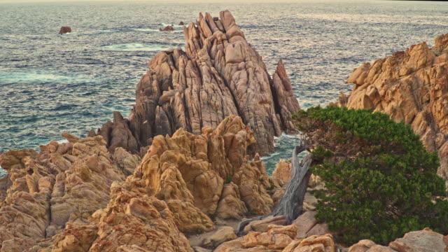sardinia, the splendor of the red rocks of costa paradiso, sassari - sassari stock videos & royalty-free footage