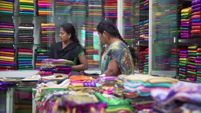 sari showroom and fabrics shop at kanchipuram, india - textile stock videos & royalty-free footage