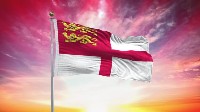 sark flag, loopable, included green screen chroma key version, waving in wind slow motion animation, 4k realistic fabric texture, continuous seamless loop background - identity politics stock videos & royalty-free footage