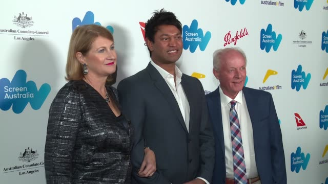 saroo brierley sue brierley and john brierley at the screen australia and australians in film host australian oscar nominees party at four seasons... - oscar party stock-videos und b-roll-filmmaterial