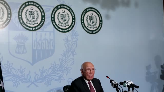 Sartaj Aziz advisor to Pakistani Prime Minister on Foreign Affairs speaks during a press conference at the Ministry of Foreign Affairs building in...