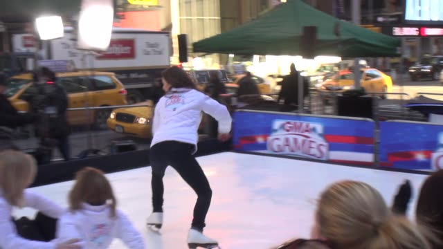 sasha cohen , ginger zee & gma's sara haines ice skating on the outside set of the good morning america show in celebrity sightings in new york, - ginger zee stock videos & royalty-free footage