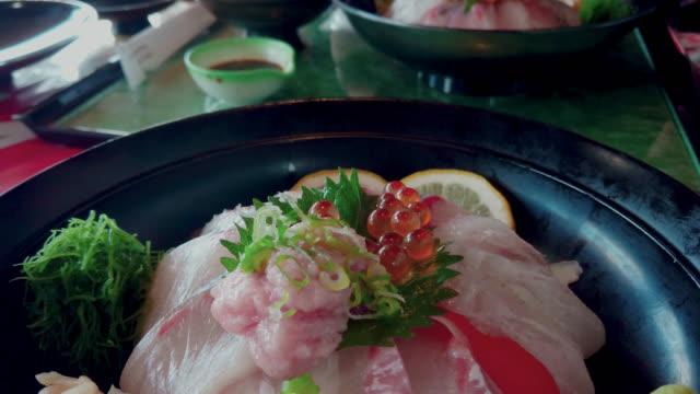 sashimi dish - donburi mix fish - donburi stock videos and b-roll footage