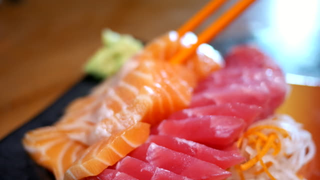 sashimi japanese food - tray stock videos & royalty-free footage