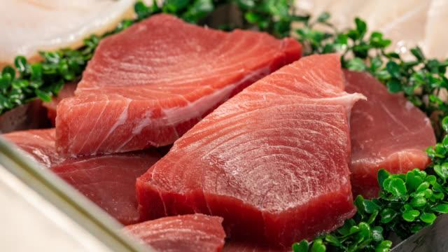 vídeos de stock e filmes b-roll de sashimi tuna - atum peixe