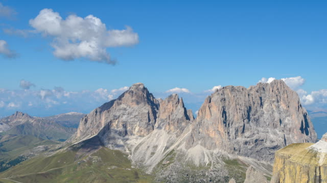 Sass Pordoi viewpoint of the Dolomites,famous travel location in Italty