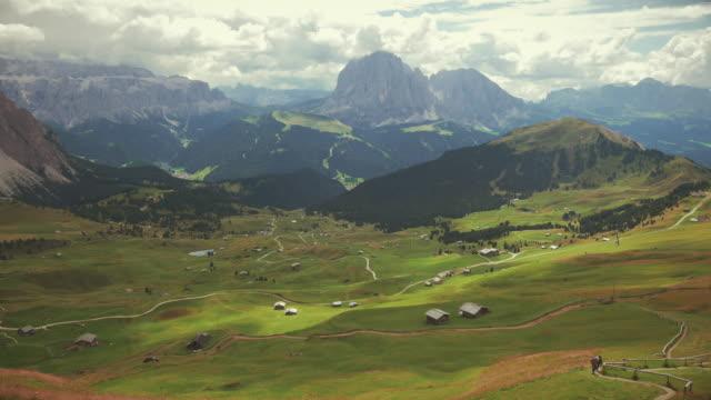 Sasslong mountain and Val Gardena on Dolomites