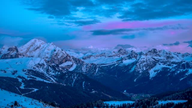 sasso longo mountain / dolomites in italy - pink stock videos & royalty-free footage