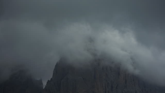 sassolungo or langkofel mountain group on the dolomites: time lapse with clouds - langkofel stock videos & royalty-free footage