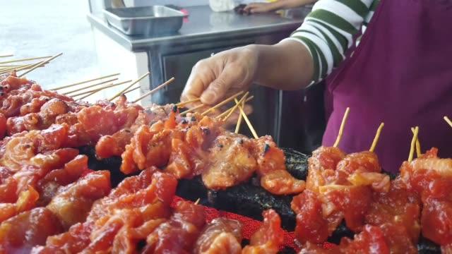 satay - beef chicken satay skewers - kuala lumpur stock videos & royalty-free footage
