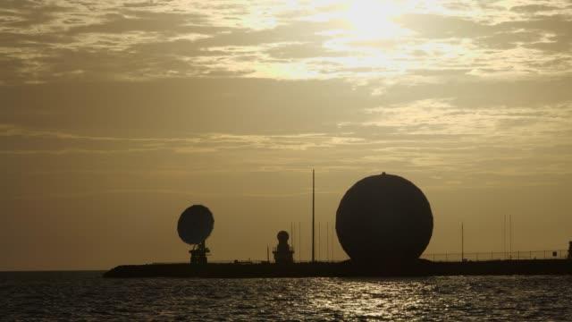 Satellite and radio station at Sunset
