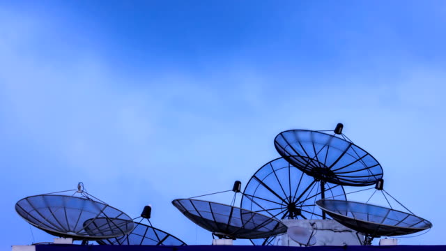 satellite antenna at dusk
