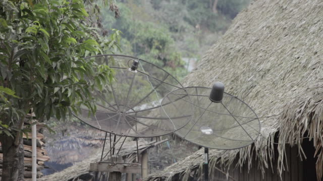 WS satellite antennas in a remote village / Xam Neua, Laos