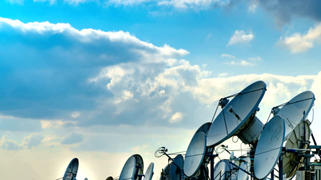 satellite dish 4k time lapse - mass media video stock e b–roll