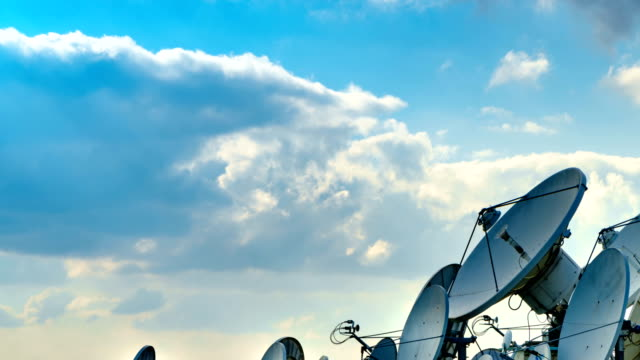 satellite dish 4k time lapse - television aerial stock videos and b-roll footage
