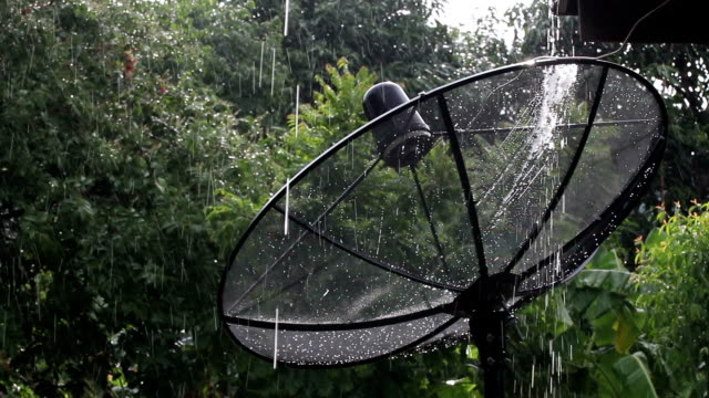 satellite dish in rain - roof tile stock videos & royalty-free footage