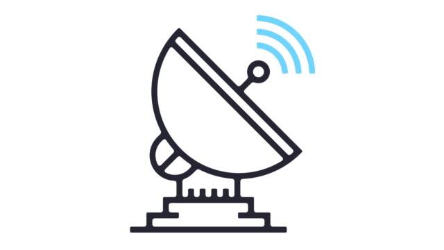 vídeos de stock, filmes e b-roll de animação de ícones da linha de prato satélite - onda radiofônica
