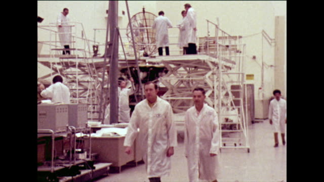 satellite dishes being made by men in white coats; 1973 - laboratory coat stock videos & royalty-free footage