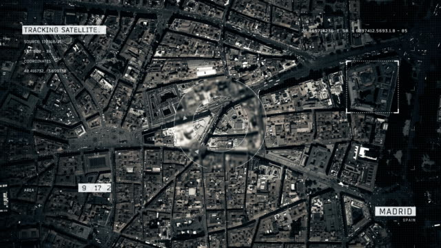 satellite image of madrid - zoom in stock videos & royalty-free footage