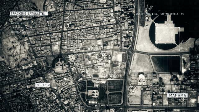 vídeos de stock e filmes b-roll de satellite image of manama - político