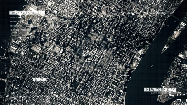 vídeos de stock e filmes b-roll de satellite image of new york city - solo