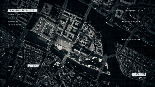 satellite image of paris - satellite video stock e b–roll
