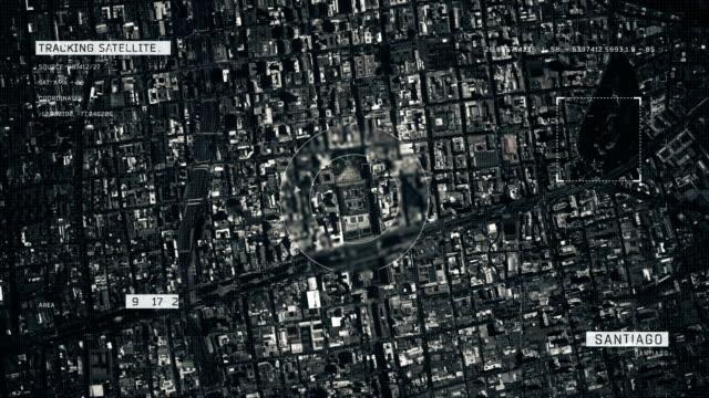 vídeos de stock e filmes b-roll de satellite image of santiago - chile