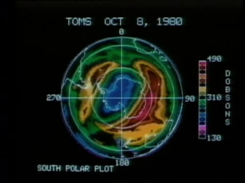 1990 ws satellite image showing hole in ozone over antarctica, audio - raw footage stock videos & royalty-free footage