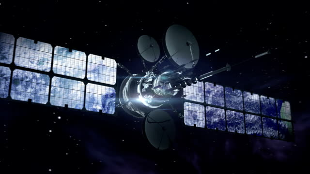 satellite in orbita intorno alla terra - satellite video stock e b–roll
