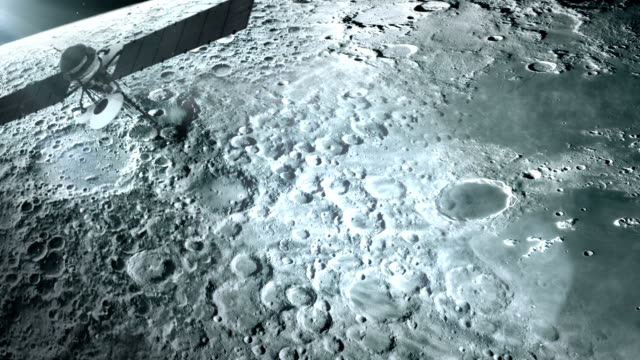 satellite in orbit of the moon. - moon stock videos & royalty-free footage