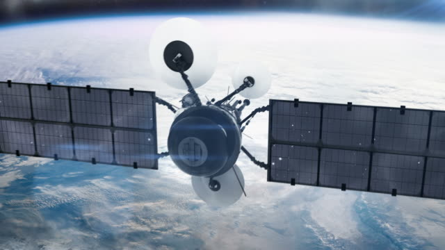satellite in orbita. - satellite video stock e b–roll