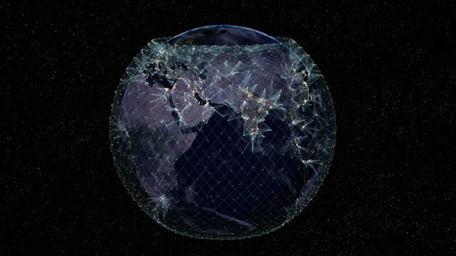 satellite internet in the eastern hemisphere of the earth. - constellation stock videos & royalty-free footage