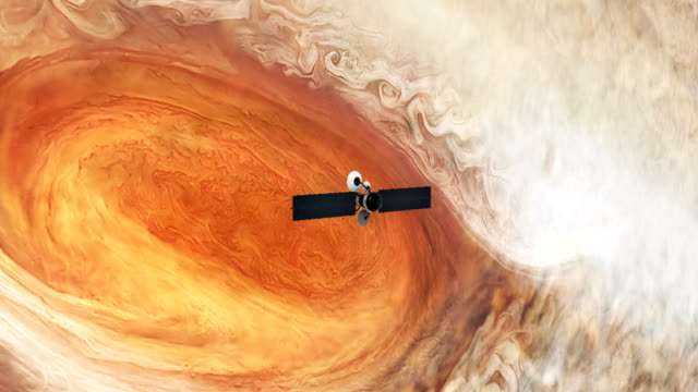 Satellite orbiting near Jupiter. Great Red Spot.