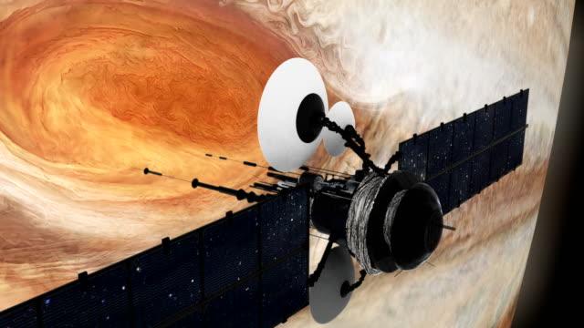 Satelliet in een baan in de buurt van Jupiter. Grote rode vlek.