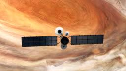 Satellite orbiting near Jupiter. Great Red Spot.