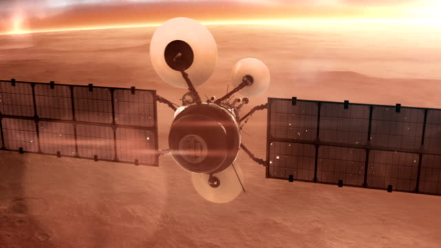 Satellite over red mars surface.