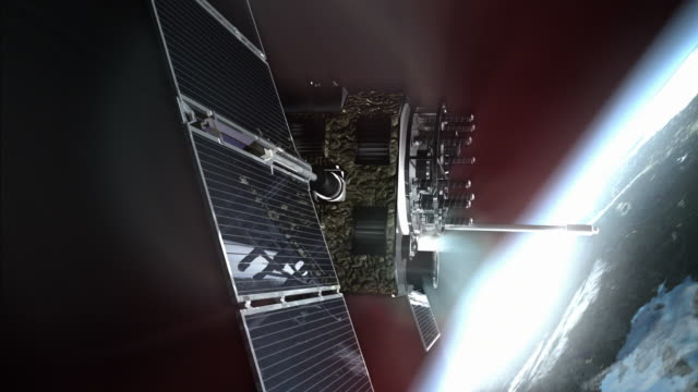 cu cgi gps satellite spinning with solar panels in earth orbit / oxford, oxfordshire, united kingdom - digitally generated image stock videos & royalty-free footage
