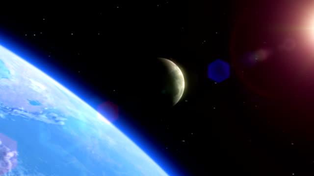 terra, luna e sole - luna video stock e b–roll
