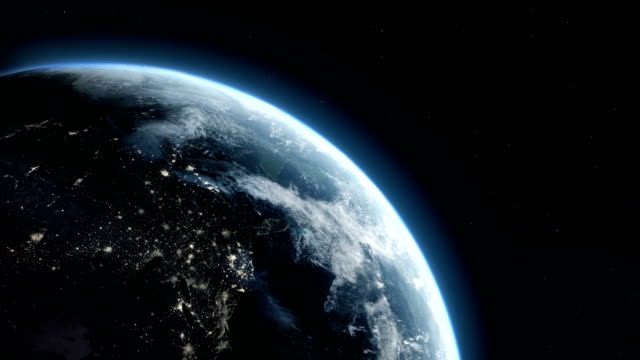 satellite view of earth with city lights - space stock videos & royalty-free footage