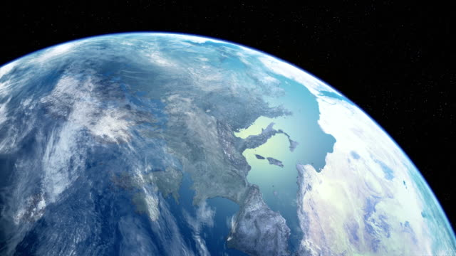 satellite view of planet earth. looping time lapse. - orbiting stock videos & royalty-free footage
