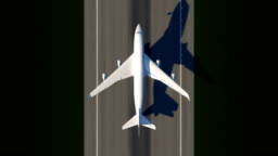 Satellite view of taking off airplane