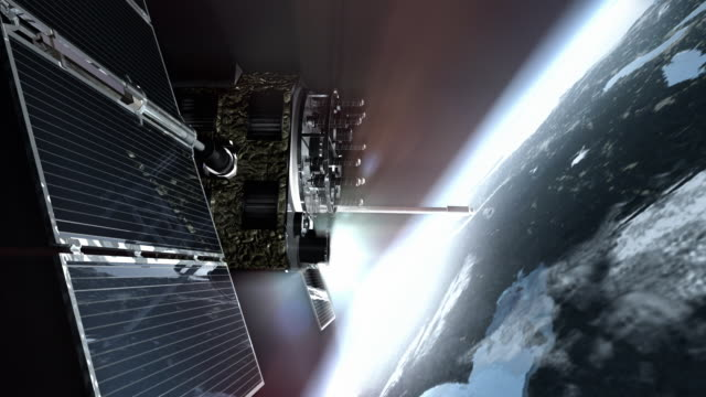 cu cgi gps satellite with solar panels in earth orbit / oxford, oxfordshire, united kingdom - satellite video stock e b–roll